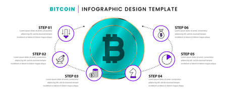 Infographic design template. Bitcoin concept with 6 steps. Can be used for workflow layout, diagram, banner, webdesign. Vector illustration