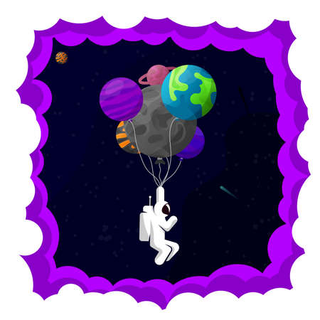 Astronaut in space. Planets and inflatable balloons. Vector illustration Standard-Bild - 167168119