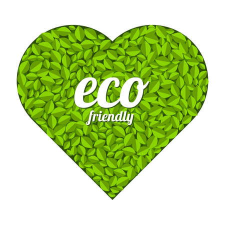 Heart symbol formed by leaves. eco friendly. Vector illustration Ilustracja