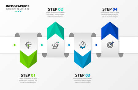 Infographic design template. Creative concept with 4 steps. Can be used for workflow layout, diagram, banner, webdesign. Vector illustration. 向量圖像