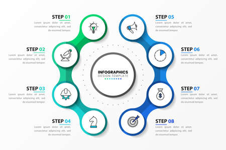 Infographic design template. Creative concept with 8 steps. Can be used for workflow layout, diagram, banner, webdesign. Vector illustration.