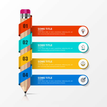 Infographic design template. Education concept with 4 steps. Can be used for workflow layout, diagram, banner, webdesign. Vector illustration 向量圖像