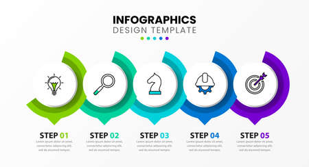 Infographic design template. Creative concept with 5 steps. Can be used for workflow layout, diagram, banner, webdesign. Vector illustration. 向量圖像
