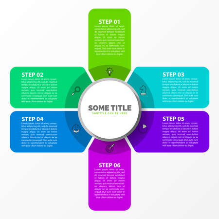 Infographic design template. Creative concept with 6 steps. Can be used for workflow layout, diagram, banner, webdesign. Vector illustration 向量圖像