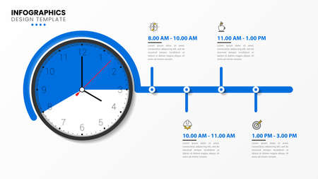 Infographic design template. Time organization with 4 steps. Can be used for workflow layout, diagram, banner, webdesign. Vector illustration