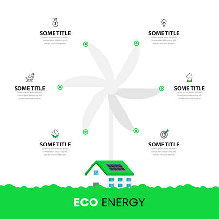Infographic design template. Eco concept with 6 steps. Can be used for workflow layout, diagram, banner, webdesign. Vector illustration 向量圖像
