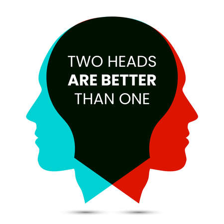 Two heads are better than one. Vector illustration
