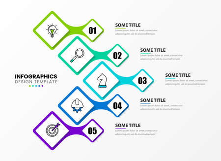 Infographic design template. Creative concept with 5 steps. Can be used for workflow layout, diagram, banner, webdesign. Vector illustration 向量圖像