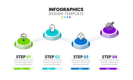 Infographic design template. Timeline concept with 4 steps. Can be used for workflow layout, diagram, banner, webdesign. Vector illustration 向量圖像