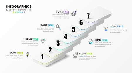 Infographic design template. Business concept with 7 steps. Can be used for workflow layout, diagram, banner, webdesign. Vector illustration Vettoriali