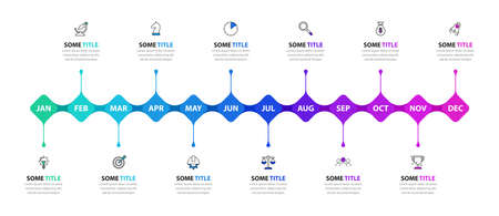 Infographic design template. Timeline concept with 12 steps. Can be used for workflow layout, diagram, banner, webdesign. Vector illustration
