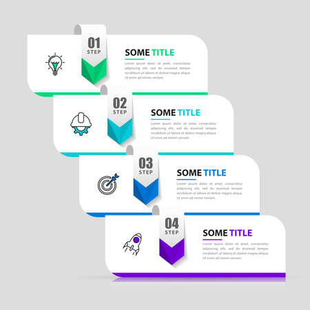 Infographic design template. Creative concept with 4 steps. Can be used for workflow layout, diagram, banner, webdesign. Vector illustration. Vettoriali