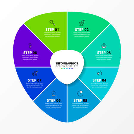 Infographic design template. Creative concept with 8 steps. Can be used for workflow layout, diagram, banner, webdesign. Vector illustration