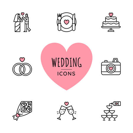Set of Wedding icons. Line style. Vector illustration
