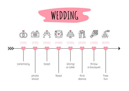 Infographic design template. Wedding timeline concept with 8 steps. Can be used for workflow layout, diagram, banner, webdesign. Vector illustration Vettoriali