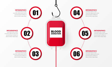 Infographic design template. Blood donation with 6 steps. Can be used for workflow layout, diagram, banner, webdesign. Vector illustration
