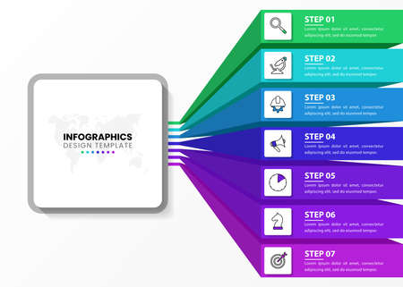 Infographic design template. Creative concept with 7 steps. Can be used for workflow layout, diagram, banner, webdesign. Vector illustration