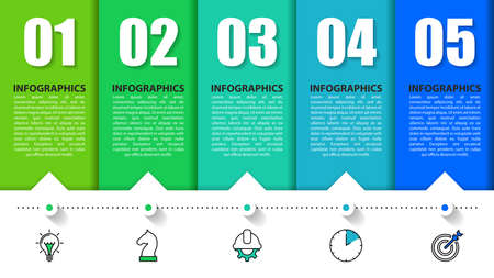 Infographic design template. Creative concept with 5 steps. Can be used for workflow layout, diagram, banner, webdesign. Vector illustration Vettoriali