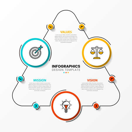 Infographic design template. Creative concept with 3 steps. Can be used for workflow layout, diagram, banner, webdesign. Vector illustration Vettoriali