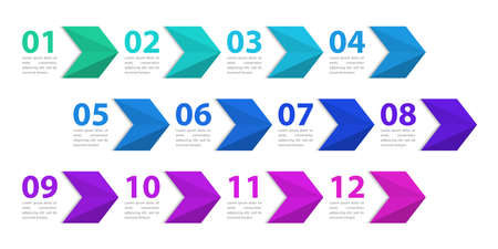 Infographic design template. Creative concept with 12 arrows. Can be used for workflow layout, diagram, banner, web design. Vector illustration