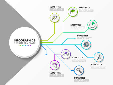 Infographic design template. Technology concept with 8 steps. Can be used for workflow layout, diagram, banner, web design. Vector illustration Vettoriali