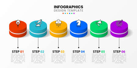 Infographic design template. Creative concept with 6 steps. Can be used for workflow layout, diagram, banner, web design. Vector illustration Vettoriali
