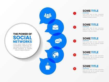 Infographic design template. Social media concept with 5 steps. Can be used for workflow layout, diagram, banner, web design. Vector illustration Vettoriali