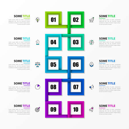 Infographic design template. Timeline concept with 10 steps. Can be used for workflow layout, diagram, banner, web design. Vector illustration Vettoriali