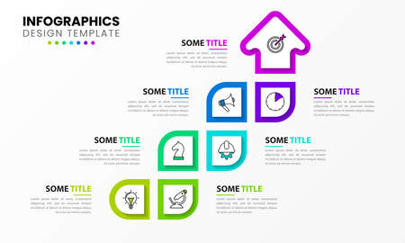 Infographic design template. Business concept with 7 steps. Can be used for workflow layout, diagram, banner, web design. Vector illustration