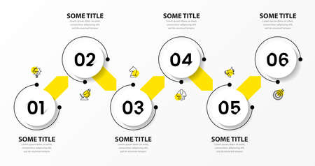 Infographic design template. Creative concept with 6 steps. Can be used for workflow layout, diagram, banner, web design. Vector illustration.