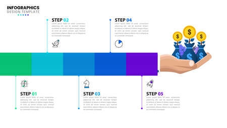 Infographic design template. Business concept with 5 steps. Can be used for workflow layout, diagram, banner, web design. Vector illustration