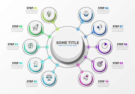 Infographic design template. Creative concept with 10 steps. Can be used for workflow layout, diagram, banner, web design. Vector illustration