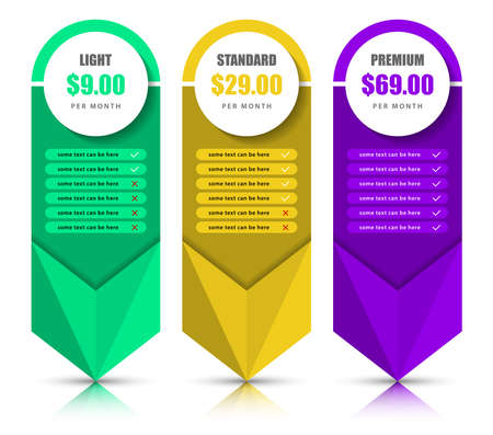 Infographic design template. Pricing table concept. Can be used for workflow layout, diagram, banner, web design. Vector illustration