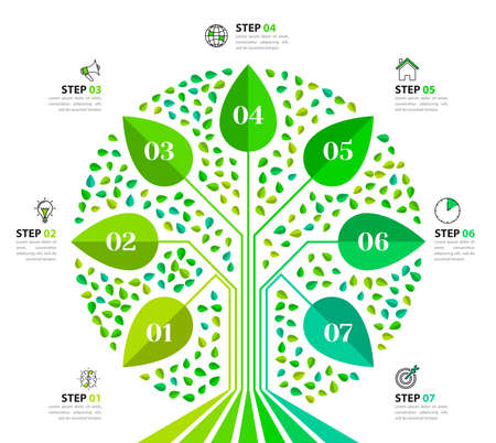 Infographic design template. Creative concept with 7 steps. Can be used for workflow layout, diagram, banner, web design. Vector illustration