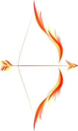 1 つの火の矢と伸ばされた弓を火します。