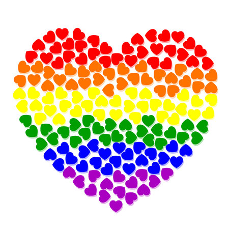amor: colorfull heart from small hearts