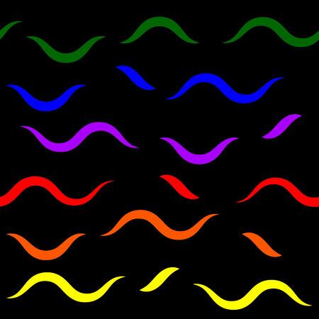 distinct: semaless pattern - rainbow short waves on black background
