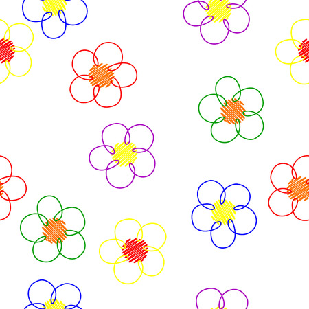 distinct: Simple Light seamless pattern with colorful flowers