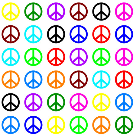 happines: light peace pattern on white background, hippies sign Illustration