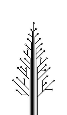 IT christmas, template of printed circuit, printed circuit tree
