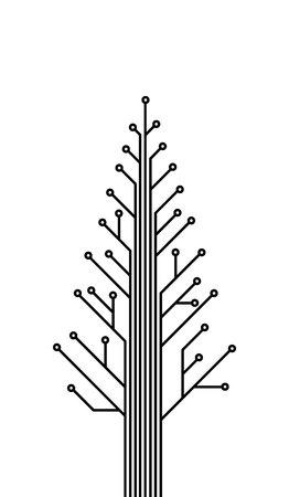 christmass tree: IT christmas, template of printed circuit, printed circuit tree