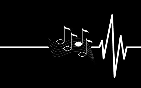 can not: music heart beating, can not live without music Illustration