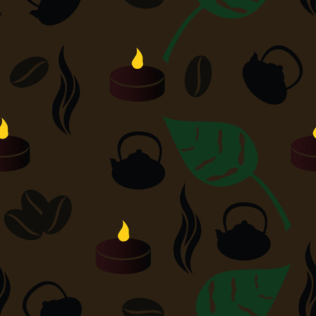 warmness: tea room seamless pattern with coffe beans Illustration