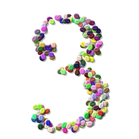 numeral: coffee beans number three, colorful numeral three