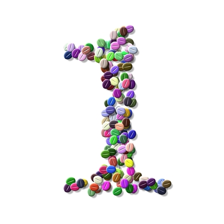 numeral: coffee beans number one, colorful numeral one
