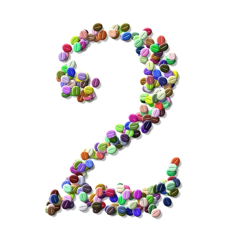 numeral: coffee beans number two, colorful numeral two