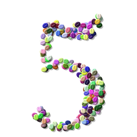 numeral: coffee beans number five, colorful numeral five