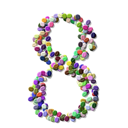 numeral: coffee beans number eight, colorful numeral eight Stock Photo