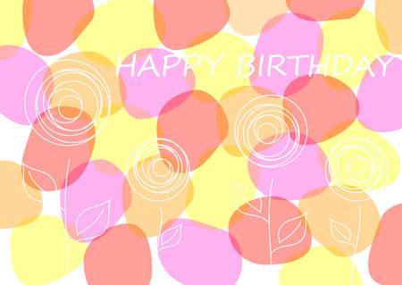gal: Vector Birthday card,  Happy Birthday card with flowers
