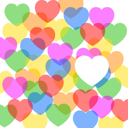 amor: colored hearts with one big white heart